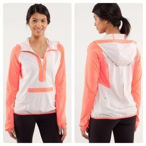 Lululemon stash n dash dune &pop orange pullover/4